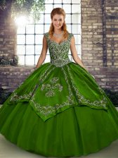 Tulle Straps Sleeveless Lace Up Beading and Embroidery Sweet 16 Dresses in Olive Green