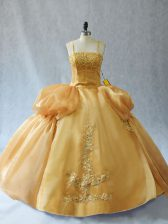 Gold Organza Lace Up Straps Sleeveless Floor Length Sweet 16 Dresses Appliques