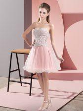 Pink Sweetheart Zipper Beading Prom Gown Sleeveless
