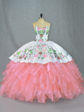 Decent Pink Sweetheart Neckline Embroidery and Ruffles Quinceanera Gown Sleeveless Lace Up