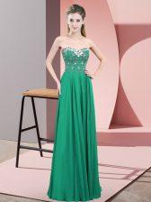 Floor Length Turquoise Prom Party Dress Sweetheart Sleeveless Zipper