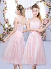 New Style Sleeveless Tulle Tea Length Lace Up Dama Dress for Quinceanera in Baby Pink with Lace and Belt