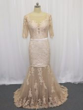 Tulle Half Sleeves Prom Evening Gown Brush Train and Lace and Appliques