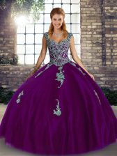 Straps Sleeveless Tulle 15 Quinceanera Dress Beading and Appliques Lace Up