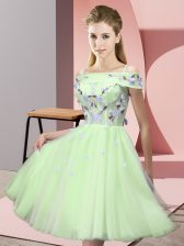 New Arrival Yellow Green Empire Off The Shoulder Short Sleeves Tulle Knee Length Lace Up Appliques Quinceanera Dama Dress
