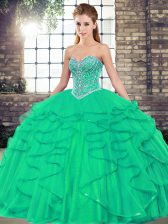 Fashion Turquoise Quinceanera Dresses Military Ball and Sweet 16 and Quinceanera with Beading and Ruffles Sweetheart Sleeveless Lace Up