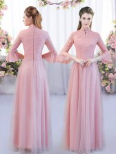 Captivating Pink Tulle Zipper High-neck 3 4 Length Sleeve Floor Length Dama Dress Lace
