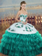 Turquoise Ball Gowns Embroidery and Ruffled Layers and Bowknot Sweet 16 Dresses Lace Up Organza Sleeveless Floor Length