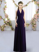 High Quality Dark Purple Halter Top Neckline Ruching Vestidos de Damas Sleeveless Zipper