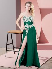 Discount Dark Green Sweetheart Zipper Lace and Appliques Prom Gown Sleeveless