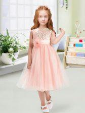 Deluxe Baby Pink Organza Zipper Flower Girl Dress Sleeveless Tea Length Sequins and Hand Made Flower