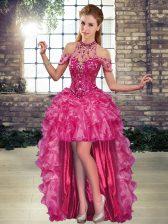 Fuchsia Halter Top Neckline Beading and Ruffles Prom Dress Sleeveless Lace Up