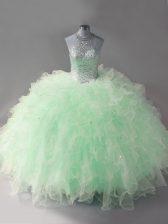 Glorious Floor Length Mermaid Sleeveless Apple Green Vestidos de Quinceanera Lace Up