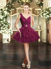 Artistic Burgundy Ball Gowns Organza V-neck Sleeveless Beading and Ruffles Mini Length Backless Prom Evening Gown
