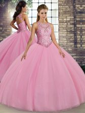Floor Length Ball Gowns Sleeveless Pink Sweet 16 Quinceanera Dress Lace Up