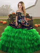 Low Price Green Sleeveless Floor Length Embroidery and Ruffled Layers Lace Up Quinceanera Dresses