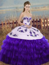White And Purple Ball Gowns Embroidery and Ruffled Layers and Bowknot 15th Birthday Dress Lace Up Organza Sleeveless Floor Length