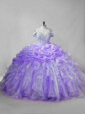 Excellent Lavender Ball Gowns Straps Sleeveless Organza Brush Train Lace Up Beading and Ruffles and Pick Ups 15th Birthday Dress