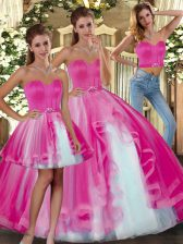 Exceptional Floor Length Ball Gowns Sleeveless Fuchsia 15 Quinceanera Dress Lace Up