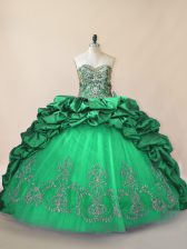 Sweetheart Sleeveless Tulle Sweet 16 Dresses Beading and Pick Ups Brush Train Lace Up