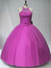 Sweet Halter Top Sleeveless Tulle 15 Quinceanera Dress Beading Lace Up