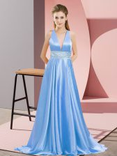 Fitting Sleeveless Elastic Woven Satin Brush Train Backless Prom Party Dress in Baby Blue with Beading