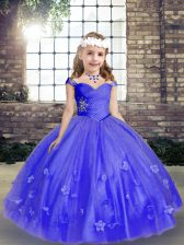 Simple Blue Sleeveless Tulle Lace Up Kids Formal Wear