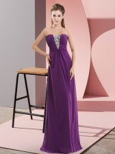 Smart Dark Purple Chiffon Zipper Sweetheart Sleeveless Floor Length Evening Dress Beading