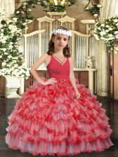 Unique Coral Red Sleeveless Floor Length Ruffles and Ruffled Layers Zipper Girls Pageant Dresses
