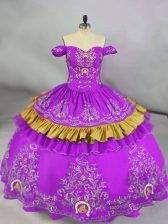 Flare Off The Shoulder Sleeveless Quinceanera Dresses Floor Length Embroidery Purple Satin
