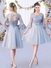 Customized Knee Length Grey Vestidos de Damas Scoop 3 4 Length Sleeve Lace Up