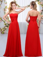 Edgy Floor Length Empire Sleeveless Red Quinceanera Court Dresses Lace Up