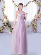 Comfortable Lavender Tulle Side Zipper Dama Dress Sleeveless Floor Length Lace and Belt