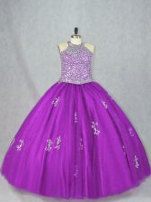 Custom Design Purple Halter Top Neckline Beading and Appliques Quinceanera Gowns Sleeveless Lace Up