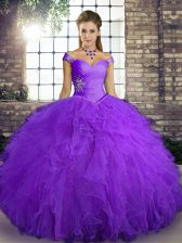 Adorable Floor Length Purple 15 Quinceanera Dress Tulle Sleeveless Beading and Ruffles