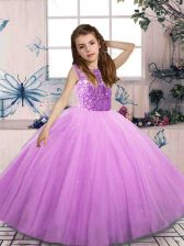 Popular Lilac Sleeveless Tulle Lace Up Little Girl Pageant Gowns for Party and Wedding Party