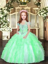 Superior Tulle Straps Sleeveless Lace Up Beading and Ruffles Little Girls Pageant Gowns in