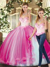 Elegant Fuchsia Sleeveless Floor Length Beading Lace Up Vestidos de Quinceanera