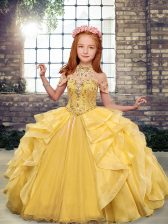 Scoop Sleeveless Organza Little Girls Pageant Dress Wholesale Beading and Ruffles Lace Up