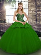 Traditional Green Sleeveless Beading and Appliques Floor Length Quinceanera Gown
