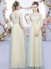 Sumptuous Tulle High-neck Half Sleeves Zipper Lace and Bowknot Quinceanera Dama Dress in Champagne