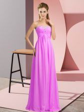 Sleeveless Floor Length Beading Lace Up Prom Dresses with Lilac