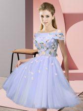 Vintage Appliques Vestidos de Damas Lavender Lace Up Short Sleeves Knee Length