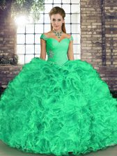 Floor Length Turquoise Sweet 16 Quinceanera Dress Organza Sleeveless Beading and Ruffles