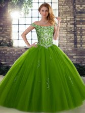 Sexy Olive Green Ball Gowns Beading Ball Gown Prom Dress Lace Up Tulle Sleeveless Floor Length