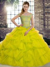 Suitable Off The Shoulder Sleeveless Brush Train Lace Up 15 Quinceanera Dress Yellow Green Tulle