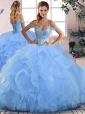 Blue Sleeveless Tulle Lace Up Vestidos de Quinceanera for Sweet 16 and Quinceanera