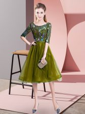 Olive Green Scoop Lace Up Embroidery Vestidos de Damas Half Sleeves