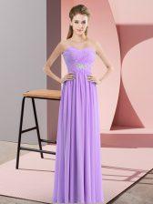Delicate Lavender Empire Sweetheart Sleeveless Chiffon Floor Length Zipper Beading Dress for Prom