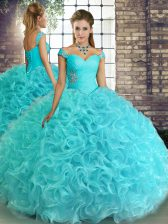 Ideal Aqua Blue Quince Ball Gowns Military Ball and Sweet 16 and Quinceanera with Beading Off The Shoulder Sleeveless Lace Up